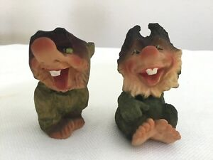 Lot Of 2 Vintage Henning Norway Hand Carves Wood Troll