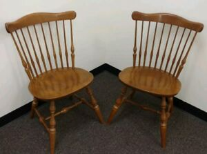 Ethan Allen 2 Solid Maple Nutmeg 10 6102 Windsor Chairs