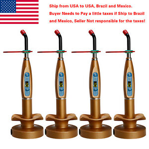 4 X Usa To Brazil Dental Wireless Cordless Led Curing Light Lamp Gold