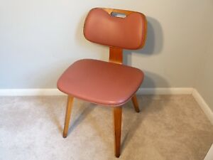 Thonet Rose Pink Bent Wood Chair Vintage Mid Century Modern School Handle Chair