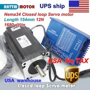 us Stock 12n m Hybrid Closed Loop Nema34 Servo Motor 154mm hss86 Driver Cnc Kit