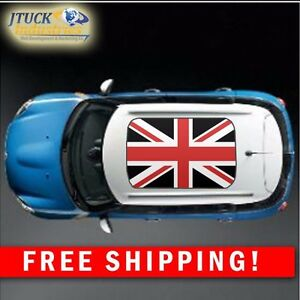Mini Cooper Uk Red Black Flag Roof Decal Graphic New Style