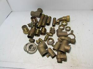 Brass Pipe Fitting 1 1 4 1 2 Lot Of 32 Plumbing Fittings gg2