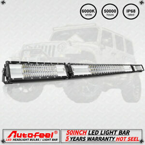 New Tri Row 54inch 55 Led Light Bar Flood Spot Offroad Pickup Pk 20 24 19 22