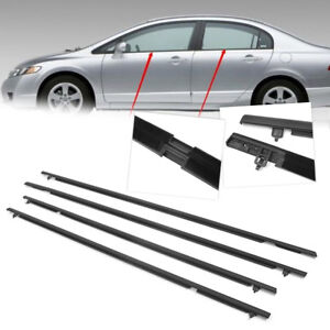 Car Outside Window Moulding Weatherstrip Seal Belt For Honda Civic 2006 2011 4pc