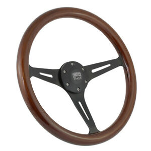14 Inch 350mm Black Steering Wheel Wood Grip Muscle Classic Chevy Gmc 5 Hole