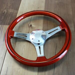 14 Jdm Wooden Steering Wheel Polished 3 Spoke 6 Hole Horn Button