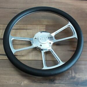 14 Inch Polished Steering Wheel Chevy Horn 5 Hole Chevrolet Black Muscle Car