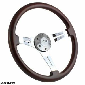 15 Chrome Steering Wheel Dark Wood Grip 3 Spoke Chevy Horn Button 6 hole