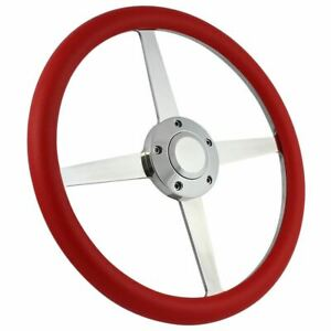 14 4 Spoke Polished Steering Wheel Ford Chevy Muscle C10 Half Wrap Hot Rod Gmc