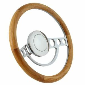 14 Polished Polished Nostalgia Steering Wheel Wooden Oak Grip
