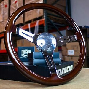 15 Inch Chrome Polished Steering Wheel Dark Wood 3 Spoke
