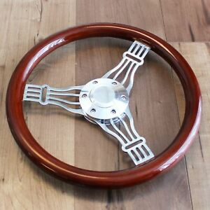 14 3 Spoke Chrome Banjo Wood Steering Wheel 6 Hole Hot Rod Ford Chevy Truck