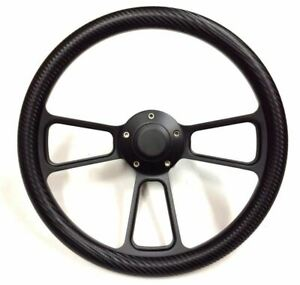14 Carbon Fiber Black Muscle Steering Wheel W 69 94 Chevy Gm Billet Adapter