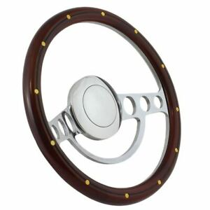 14 Polished Steering Wheel Wood Grip Ford Chevy Muscle C10 Half Wrap Hot Rod