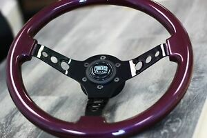 350mm Black Chrome Steering Wheel Purple Grip Jdm Drift Tuner 14 6 Hole Kdm