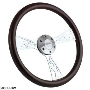 15 Chrome Flame Steering Wheel Dark Wood Grip Chevy C10 Truck Hot Rod 6 Hole