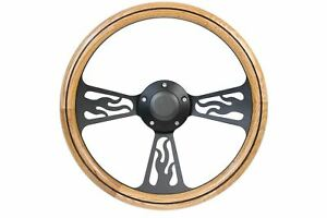 14 Black Flame Light Oak Wooden Steering Wheel 3 spoke