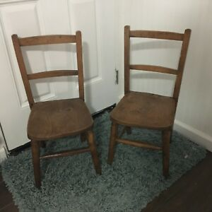 Vintage Pair Childs Kids Oak School Chapel Chairs Set Of 2 Antique Solid Wood