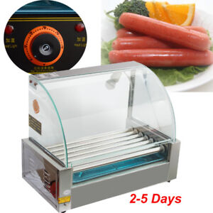 Commercial 18 Hot Dog Hotdog 7 Roller Grill Cooker Machine W Cover Stainless