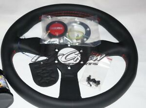 Momo Monte Carlo Steering Wheel 320mm Black Leather Red Stitch