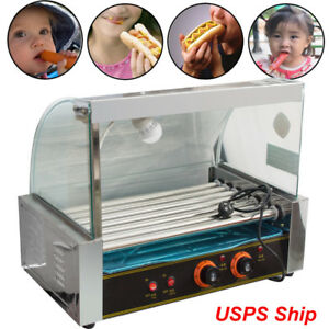 Commercial Kitchen 18 Hot Dog 7 Roller Grill Cooker Warmer Machine hood Cover