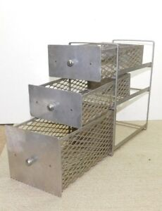 Vtg Industrial Chrome Steel Art Deco Mesh 3 drawer Small Parts Cabinet Storage