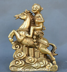 Collect China Fengshui Old Bronze Horse Up Monkey Chop Seals Money Wealth Statue
