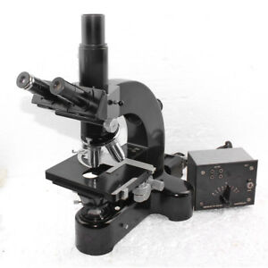 Leitz Wetzlar Ortholux Trino Microscope Quintuple Turret With 4 Objectives