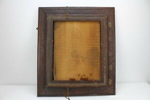 Vintage Antique Picture Frame Wood Wooden Ornate Old Oak With Door 22 5x19 5