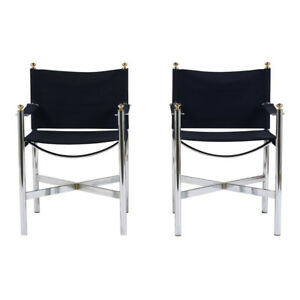Stylish Steel Lounge Chairs W Chrome Finish Brass Finial Upholstered Blue Suede