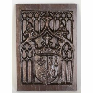 Antique French Carved Chestnut Architectural Gothic Style Weapon Shield Panel