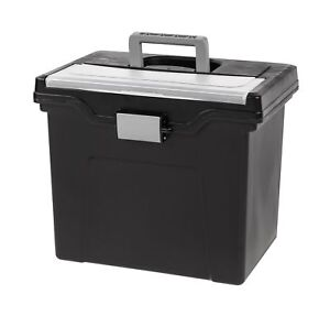Iris Letter Size Portable File Box With Organizer Lid 4 Pack Black 4 pack