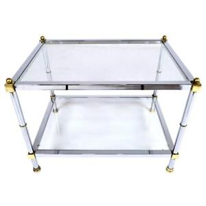 Vintage Mid Century Modern Chrome And Brass Side Table Excellent Condition