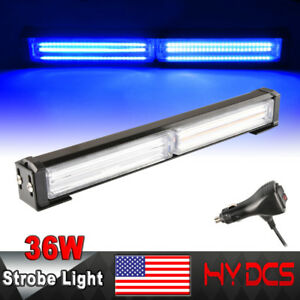 36w Cob Led Traffic Advisor Security Warning Emergency Flash Light Bar Red Blue