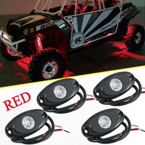 4x Red Led Rock Light For Polaris Rzr Xp Sportsman Atv Underbody Neon Light Pods