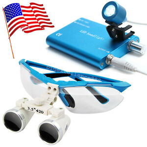 Blue Dental Loupes 3 5x 420mm Surgical Medical Binocular Led Head Light Lamp