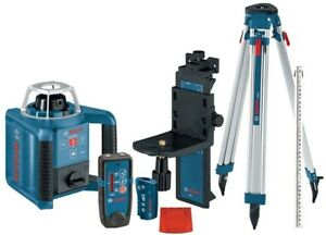 Bosch 1000 Ft Self Leveling Rotary Laser Level Layout Beam 7 Piece Complete Kit
