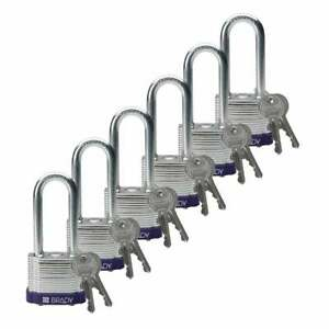 Brady By Abus 104918 Steel Lockout tagout Padlock Keyed Different Pack Of 6
