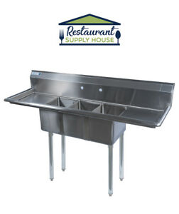 Stainless Steel 3 Compartment Sink 60 X 20 W 2 Drainboards Nsf Certified