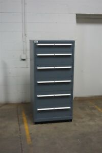Used Lista 6 Drawer Cabinet Industrial Tool Parts Storage Bin 1442 Vidmar