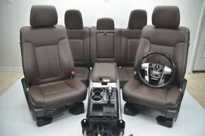 2009 2014 Ford F150 Platinum Front Rear Brown Leather Seats Console Crew Cab