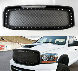 Black Rivet Style Ss Wire Mesh Grille shell For Dodge Ram 1500 2500 3500 06 08