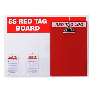 Brady 122056 5s Red Tag Board W clipboard And 5 75 X 3 Tags 1 Kit
