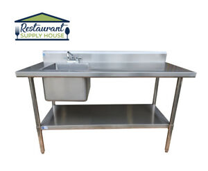 Stainless Steel Wok Prep Table 30 x60 W Sink On Left With Faucet Nsf Certified
