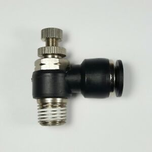 Push To Connect Fittings Swivel Airflow Control Valve 3 8 Od Tube 1 4 Npt Threa