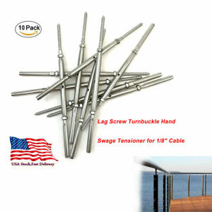 10pcs Turnbuckle Hand Swage Tensioner For 1 8 Cable Railing With Lag Screw