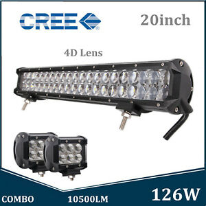 20'' 126W 4D Optical+4'' 18W Pods LED Work Light Bar Combo Trailer 4X4WD ATV 12V