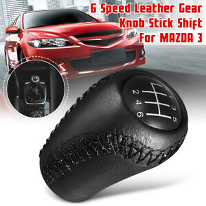 6 Speed Black Leather Gear Knob Shift Shifter Stick For Mazda 3 5 6 Cx 7 Mx 5