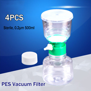 500ml 4pk Vacuum Filter Cup Funnel On Top Pes Membrane Filtration Sterile 0 22 m